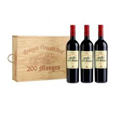 Caja de Madera con 3 botellas de 200 Monges Reserva