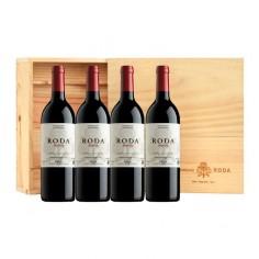 Caja de Madera con 4 botellas de Roda Reserva 2016