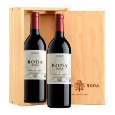 Caja de Madera con 2 botellas de Roda Reserva