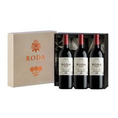 Estuche regalo con 3 botellas de Roda Reserva 2016